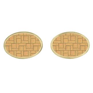 Light Brown Block Design Gold Cufflinks