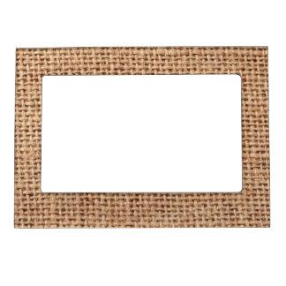 Light Brown Burlap Sack Background Magnetic Picture Frame