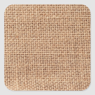 Light Brown Burlap Sack Background Square Sticker