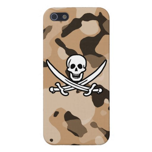 Light Brown Camo; Jolly Roger Pirate Case For iPhone 5