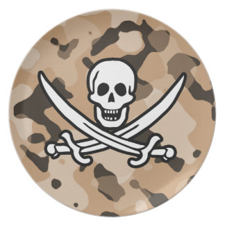 Light Brown Camo; Jolly Roger Pirate Party Plate