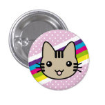 light brown  cat polka dots 1 inch round button