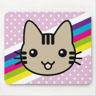 light brown  cat polka dots mouse pad