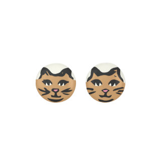 LIGHT BROWN CAT With Black Whiskers Earrings