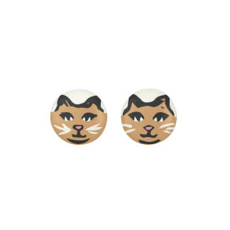 LIGHT BROWN CAT With White Whiskers Earrings