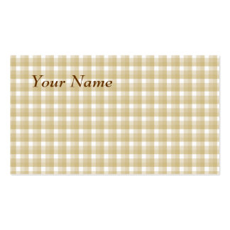 Light brown check pattern. Beige gingham. Business Card