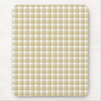 Light brown check pattern. Beige gingham. Mouse Pad