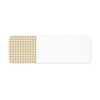 Light brown check pattern. Beige gingham. Return Address Label