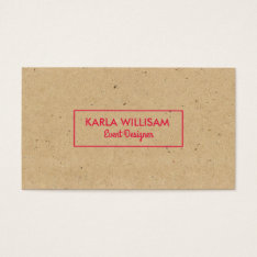 Light Brown Craft Paper Crimson Red Accent Business Card at Zazzle
