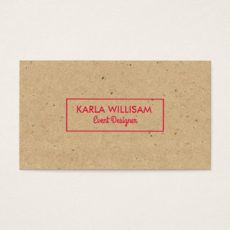 Light Brown Craft Paper Crimson Red Accent Business Card