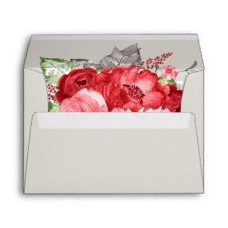 Light Brown / Cream with Pink Red Roses Envelope