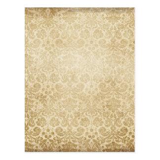 Light Brown Faded Damasks pattern Postcard