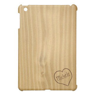 Light Brown Faux Plywood texture with engraving iPad Mini Cover