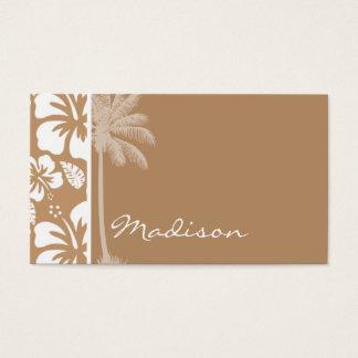 Light Brown Hawaiian Tropical Hibiscus; Palm Business Card