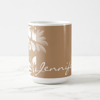 Light Brown Hawaiian Tropical Hibiscus; Palm Coffee Mug