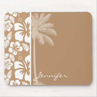 Light Brown Hawaiian Tropical Hibiscus; Palm Mouse Pad