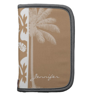 Light Brown Hawaiian Tropical Hibiscus; Palm Folio Planner