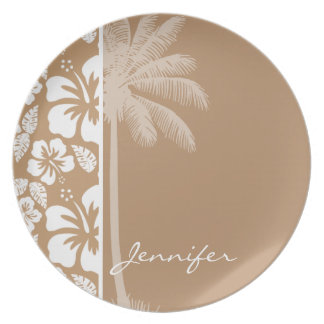 Light Brown Hawaiian Tropical Hibiscus; Palm Plates