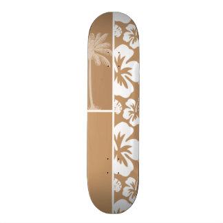 Light Brown Hawaiian Tropical Hibiscus; Palm Skate Board