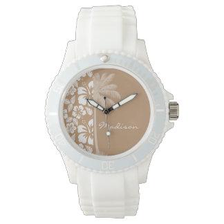Light Brown Hawaiian Tropical Hibiscus; Palm Watch