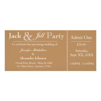Light Brown Jack and Jill Shower Ticket Invitation