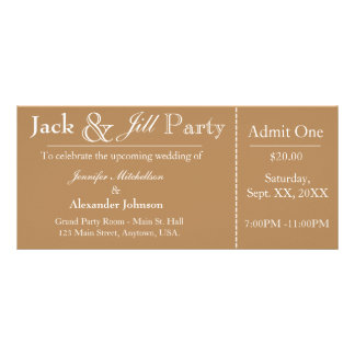 Light Brown Jack and Jill Shower Ticket Invitation Rack Card