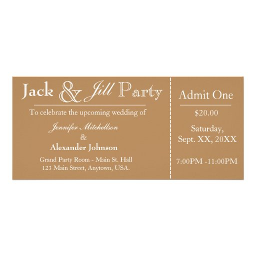 Light brown jack and jill shower ticket invitation rack for Jack and jill ticket templates