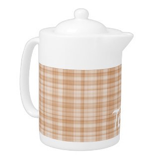 Light Brown Plaid Teapot