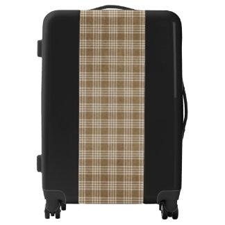 Light Brown Plaid Texture Medium Sized Luggage