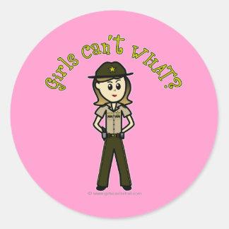 Light Brown Sheriff Girl Classic Round Sticker