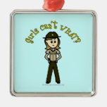 Light Brown Sheriff Girl Square Metal Christmas Ornament