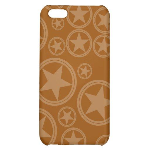 Light Brown Stars in Circles on Brown iPhone 5C Case