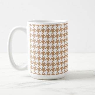 Light Brown, Tan Houndstooth Coffee Mugs