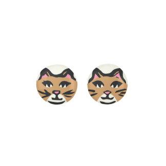 LIGHT BROWN & WHITE CAT, Pink Ears & Black Whisker Earrings
