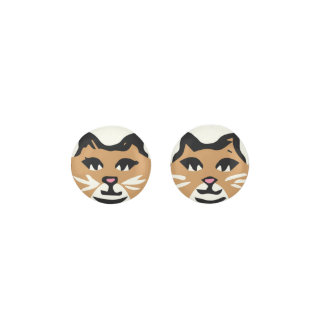 LIGHT BROWN & WHITE CAT With White Whiskers Earrings