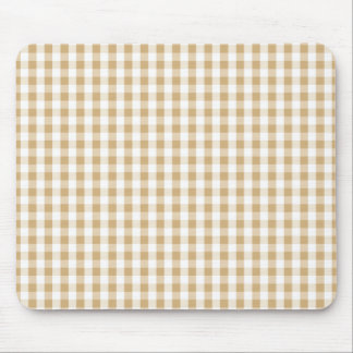 Light Brown & White Gingham Pattern Mouse Pad
