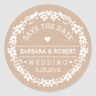 Light Brown & White Wedding Floral Save the Date Classic Round Sticker