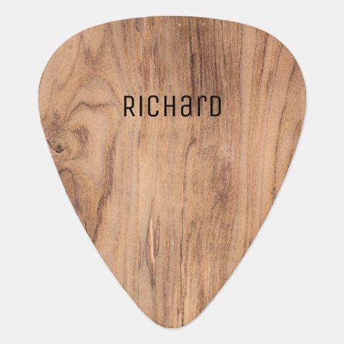 Light Brown Wood Grain Personalized Name Guitar Pick