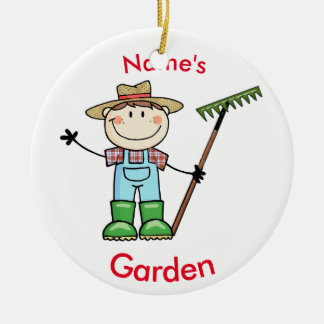 Light Brunette Boy Gardener in Overalls & Boots Ceramic Ornament