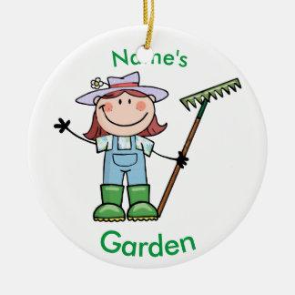 Light Brunette Girl Gardener in Overalls & Boots Ceramic Ornament