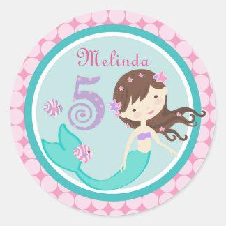 Light Brunette Mermaid Age Five Birthday Sticker