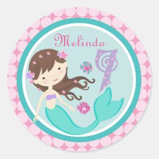 Light Brunette Mermaid Age Seven Birthday Sticker