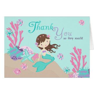 Light Brunette Mermaid Thank You Card