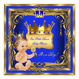 Light Brunette Prince Baby Shower Boy Blue Gold Card