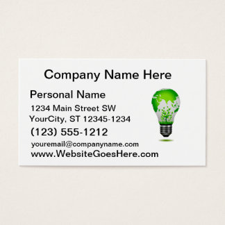 light bulb design with globe and plants ecology.pn business card