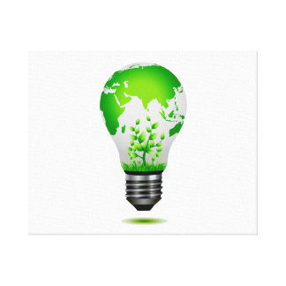 light bulb design with globe and plants ecology.pn canvas print