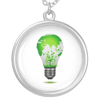 light bulb design with globe and plants ecology.pn silver plated necklace