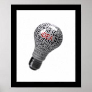 Light bulb idea concept poster