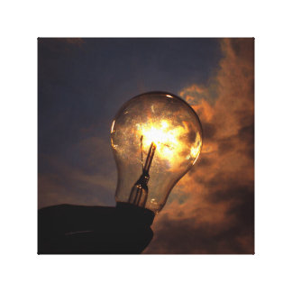 Light Bulb ignited by sun Canvas Print