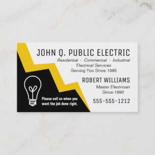 Electrical business cards templates zazzle light bulb lightning bolt electrician electrical business card colourmoves